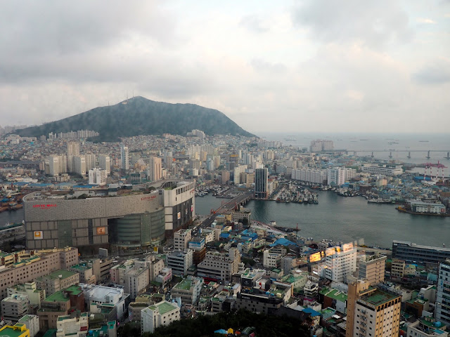 View from Busan Tower, including Lotte Mall, in Nampo-dong, Busan, South Korea