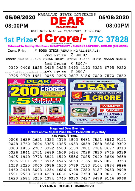 Nagaland State Lotteries 05-08-2020 Lottery Sambad Result 8:00 PM