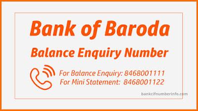 Bank of Baroda Balance Check through Missed call service