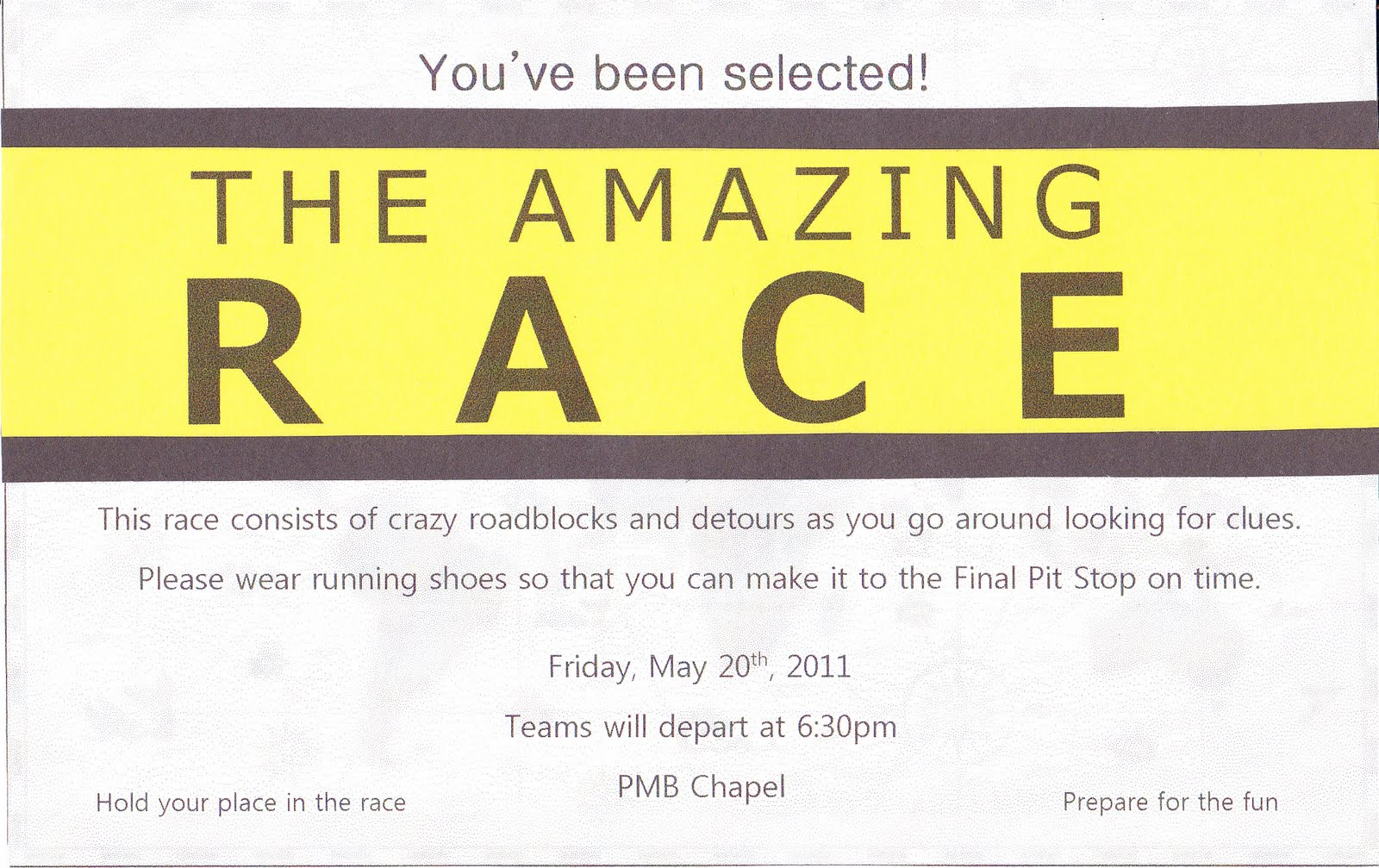Search results for amazing race templates calendar 2015 for Amazing race birthday party templates