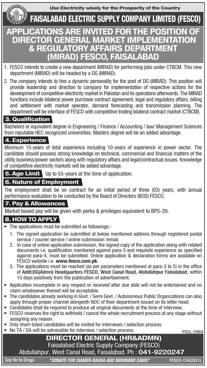 www.fesco.com.pk Jobs 2021 - FESCO Jobs 2021 Advertisement - Faisalabad Electric Supply Company Jobs 2021