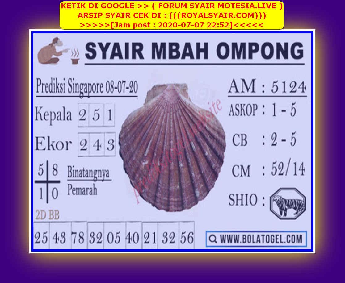 Kode syair Singapore Rabu 8 Juli 2020 235