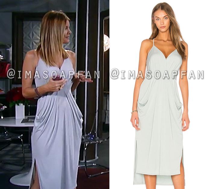 Nina Reeves, Michelle Stafford, Draped Grey Midi Dress, General Hospital, GH