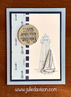 Stampin' Up! NEW Catalog Sneak Peek: Come Sail Away ~ Sailing Home ~ Clean and simple card ~ www.juliedavison.com