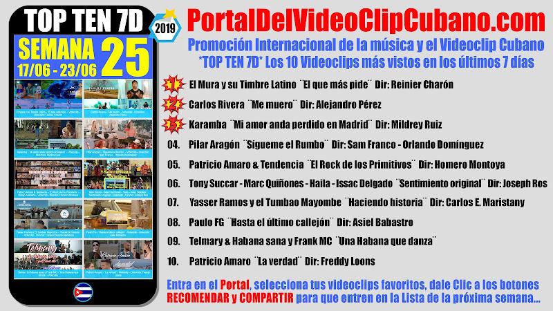 Artistas ganadores del * TOP TEN 7D * con los 10 Videoclips más vistos en la semana 25 (17/06 a 23/06 de 2019) en el Portal Del Vídeo Clip Cubano
