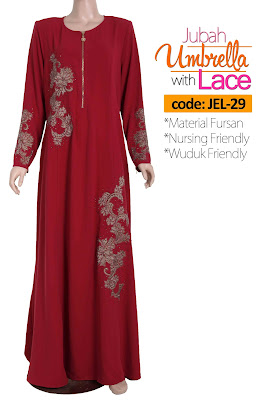 Jubah Umbrella Lace JEL-29 Red Depan 3
