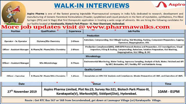 Aspiro Pharma walk-in interview for Production / Microbiology on 27th Nov' 2019