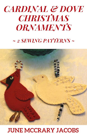 FIND MY NEW 'CARDINAL & DOVE CHRISTMAS ORNAMENTS' SEWING PATTERN BOOK ON AMAZON!