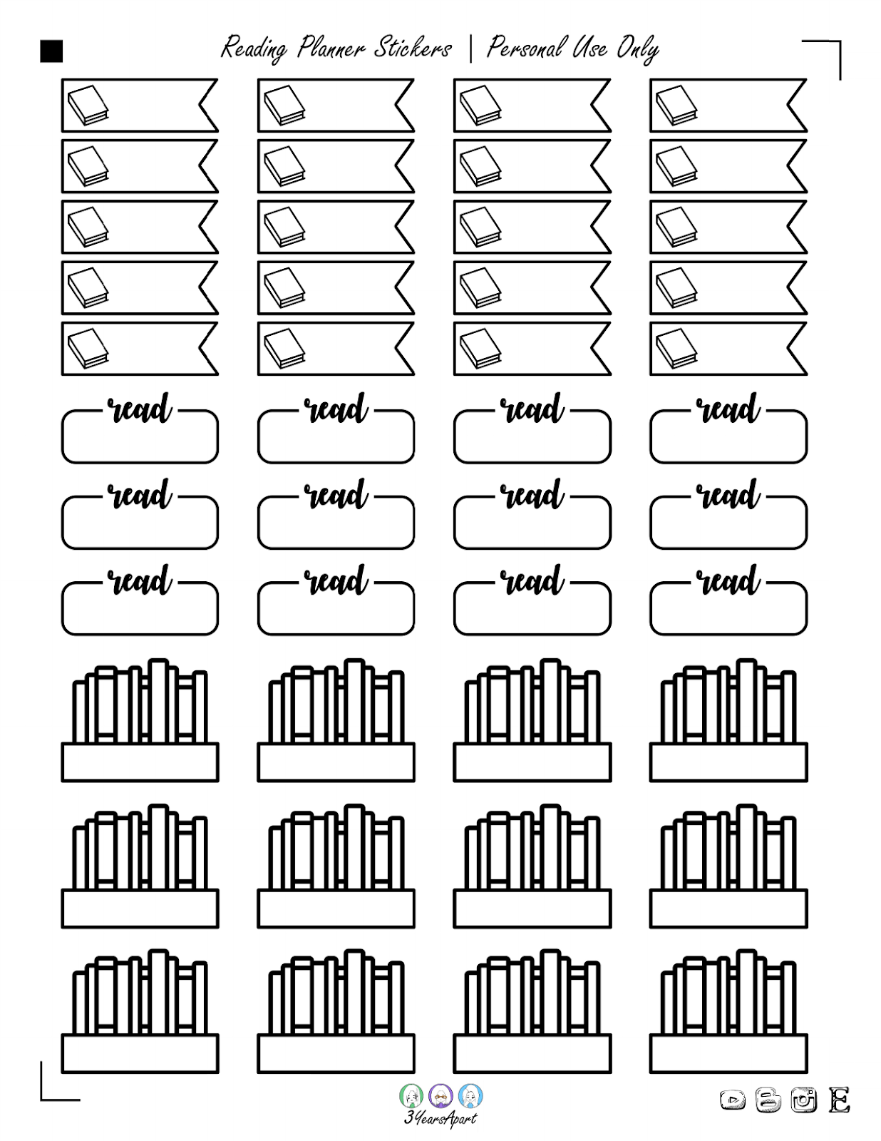 Book Reading Stickers Free Printable Planner And Bullet Journal Stickers 3 Years Apart