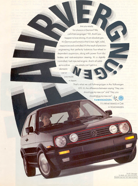 Early 1990s Volkswagen print ad