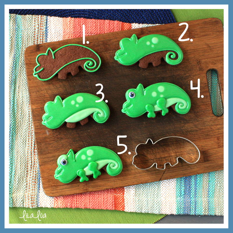 Step by step cookie decorating tutorial for lizards and chameleons