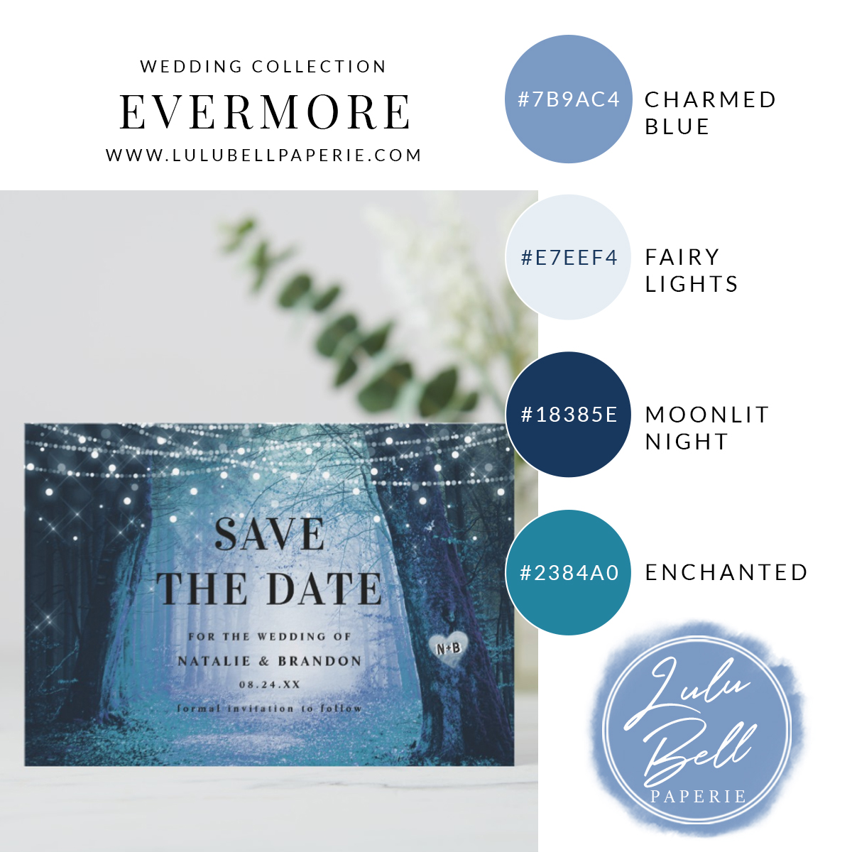 Enchanted Forest Wedding Themed Save the Date cards and Navy Blue, Dusty Blue, Color Palette