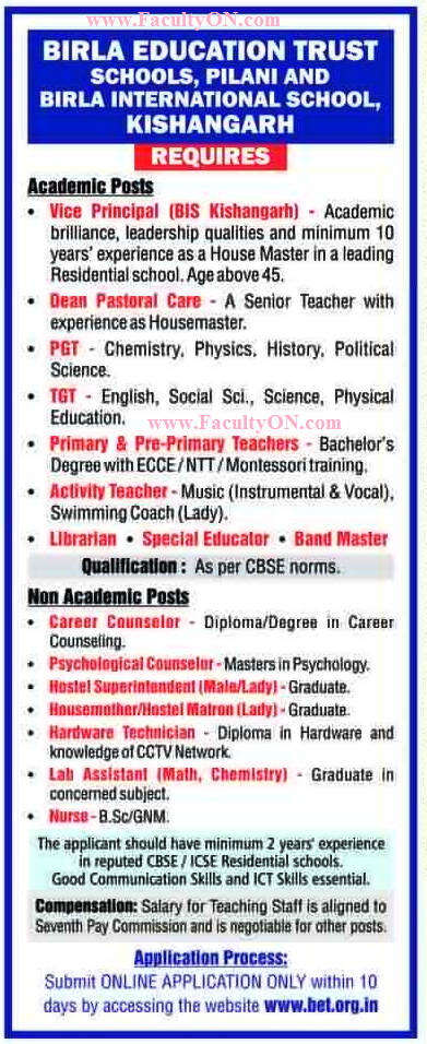 birla educational trust wanted teachers