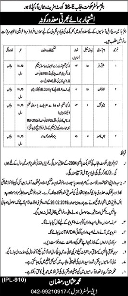 Office Of The Solicitors Lahore Announced Jobs in Lahore