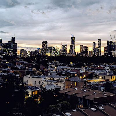 2 days in Melbourne: Skyline views at sunset from the rooftop bar at Naked for Satan