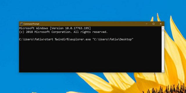 كيفية فتح الملفات والمجلدات من موجه الأوامر CMD على ويندوز 10