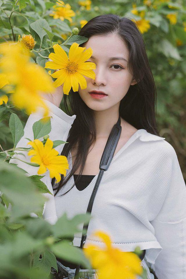 """Thiếu nữ Bắc Giang """"khoe"""" nét đẹp trong veo bên hoa dã quỳ"""