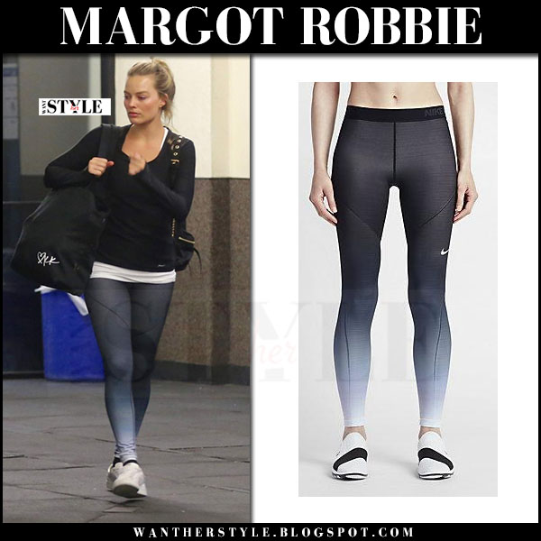 Margot Robbie in black top, grey leggings nike hyperwarm and white sneakers puma basket what she wore