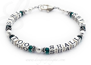 Emerald This Too Shall Pass Bracelet with a Heart Lobster Claw Clasp