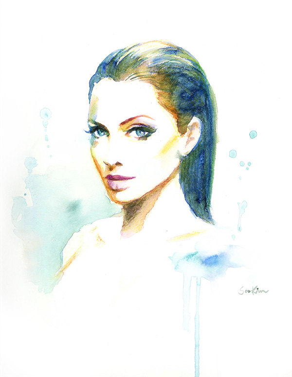 01-Angelina-Jolie-Soo-Kim-Celebrity-Watercolor-Portraits-www-designstack-co