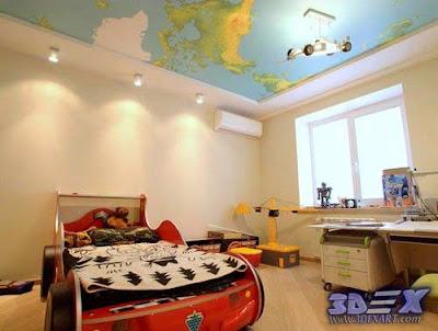 world map decor, world map art, world map ceiling, 3d ceiling designs