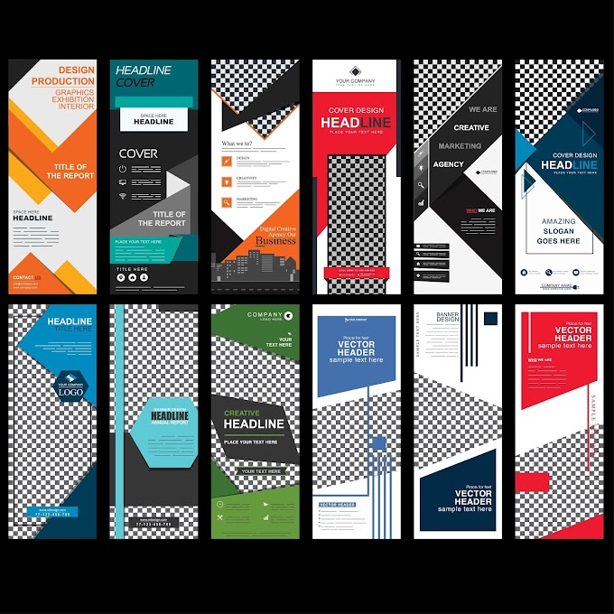 Corporate banners templates colorful modern abstract vertical design Free vector