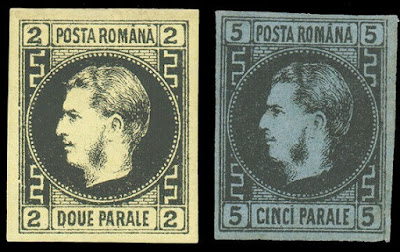 Prince Karl of Hohenzollern-Sigmaringen, monarch of Romania Imperforated early stamps
