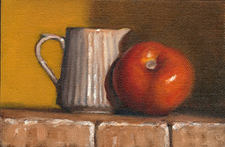 Oil painting of a small white ceramic fluted jug beside a red tomato.