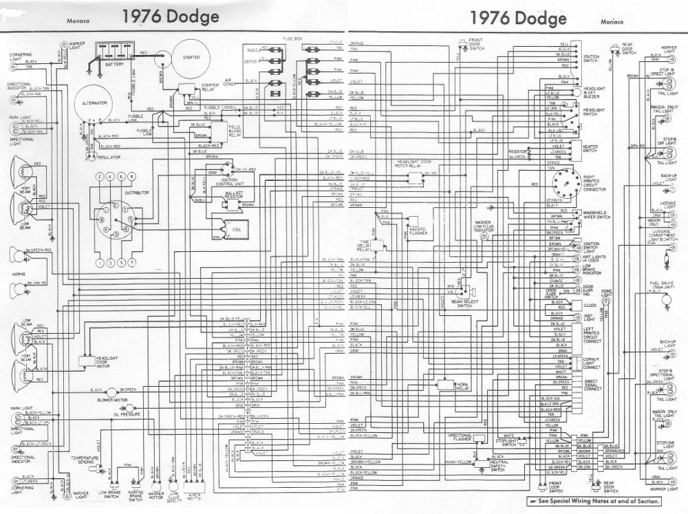 Dodge Monaco 1976 Complete Electrical Wiring Diagram All border=