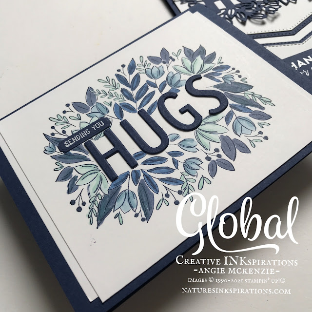By Angie McKenzie for Global Creative Inkspirations; Click READ or VISIT to go to my blog for details! Featuring the new Sending Hugs Bundle from the 2021-2022 Annual Catalog; #stampinup #handmadecards #naturesinkspirations #thinkingofyoucards #sendinghugsstampset #layeringhugsdies #sendinghugsbundle #basicborderdies #flowersoffriendshipstampset #blueandwhitecards #monochromatic #coloringwithblends #20212022annualcatalog #cardtechniques #globalcreativeinkspirations #gcibloghop  #makingotherssmileonecreationatatime