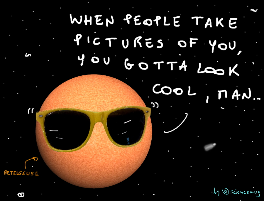 Betelgeuse red supergiant wears sunglasses (by @sciencemug)