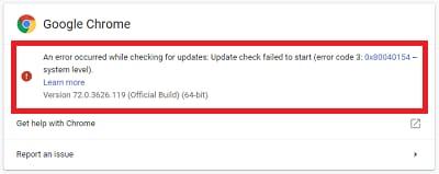 Check google chrome stopped updates