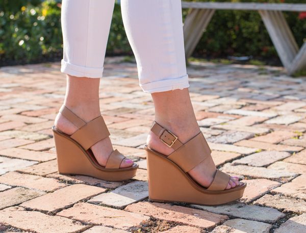 Tory Burch Lexington wedges and J Brand jeans.