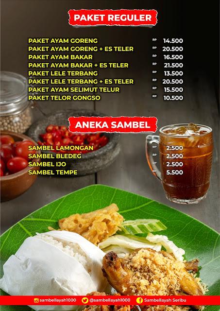 daftar menu nasi box sambel layah