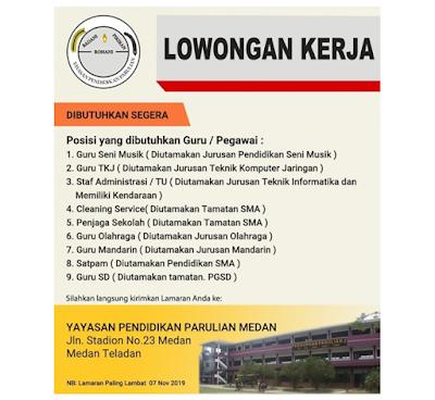 Rekrutmen Lowongan Kerja Terbaru Medan SMA/SMK D3 S1 November 2019