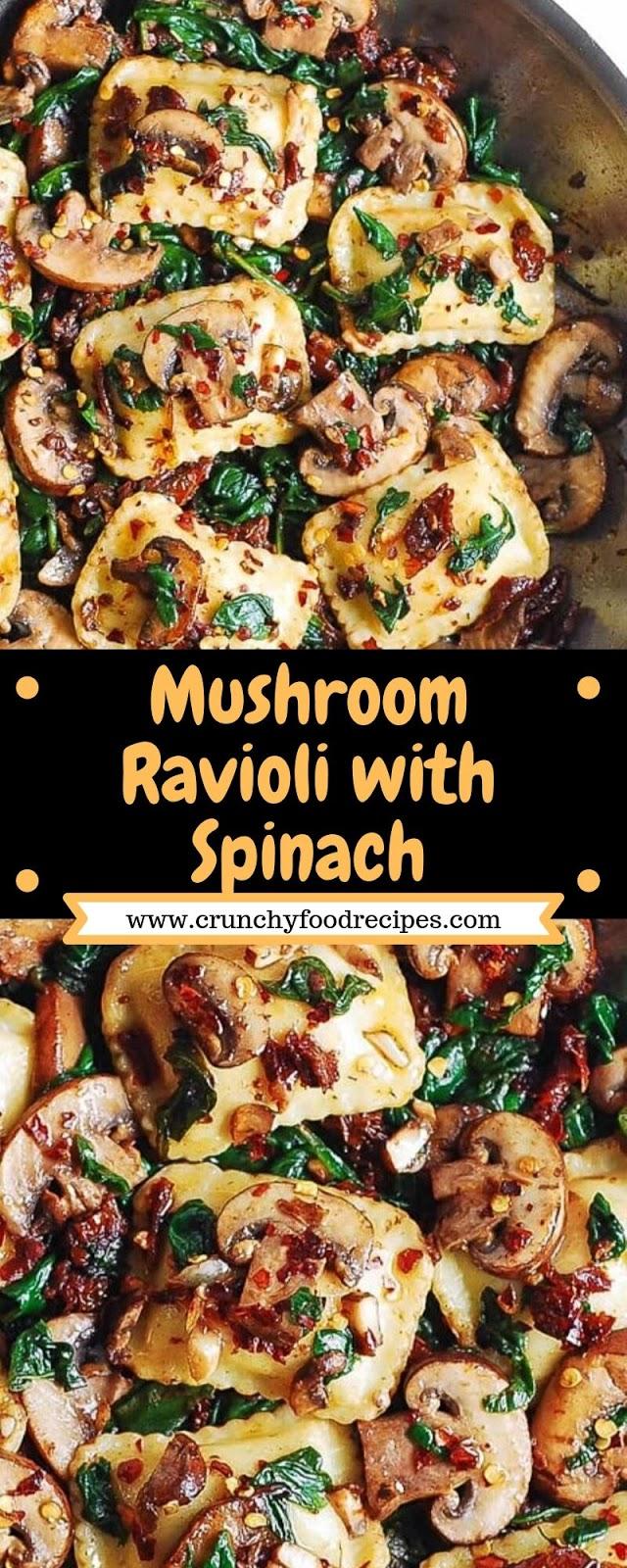 Mushroom Ravioli with Spinach