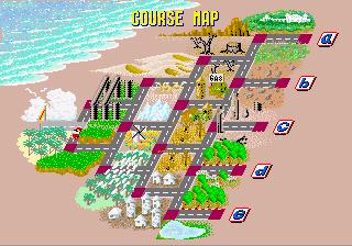 Captura con el mapa del trazado de Out Run. Se pueden observar todas las bifurcaciones para llegar a los finales a, b, c, d y e