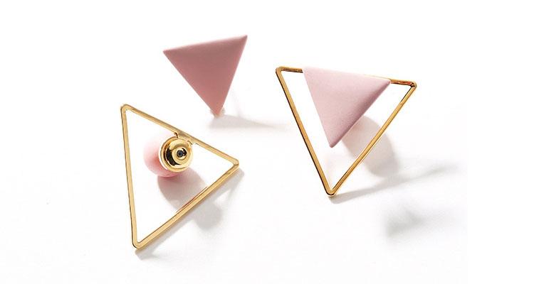 粉紅三角幾何耳環