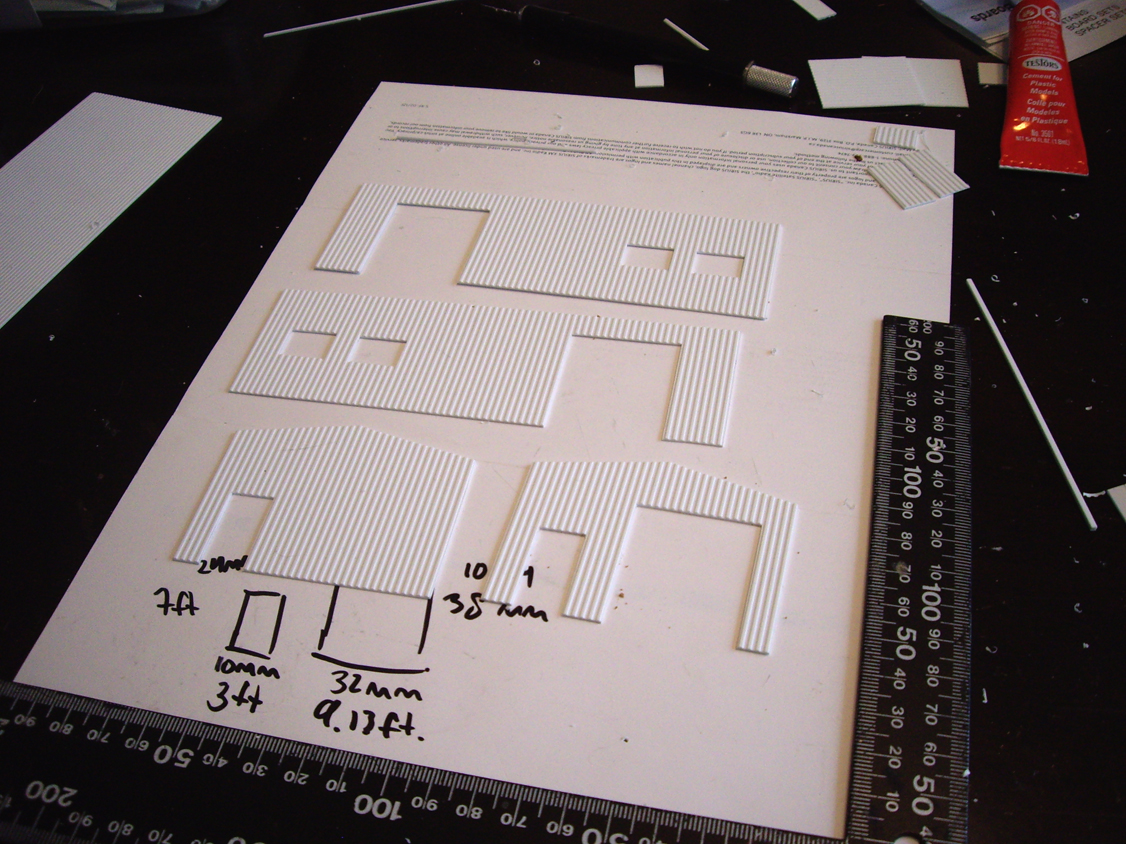 4 hand-cut styrene walls for a scratch built garage structure