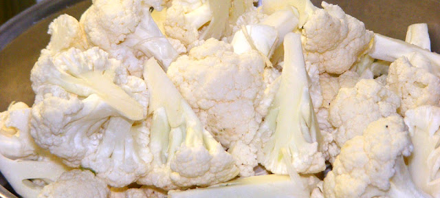Cauliflower, cut into florets. Prepared and photographed by Susan Walter.