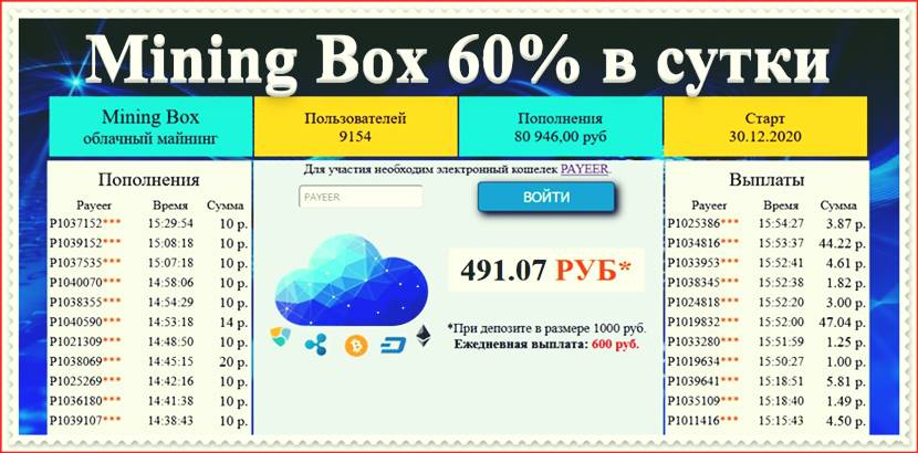 Мошеннический сайт mining-box.space – Отзывы, развод, платит или лохотрон? Мошенники