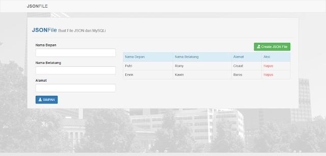 Aplikasi Membuat File JSON dari Database MySQLi