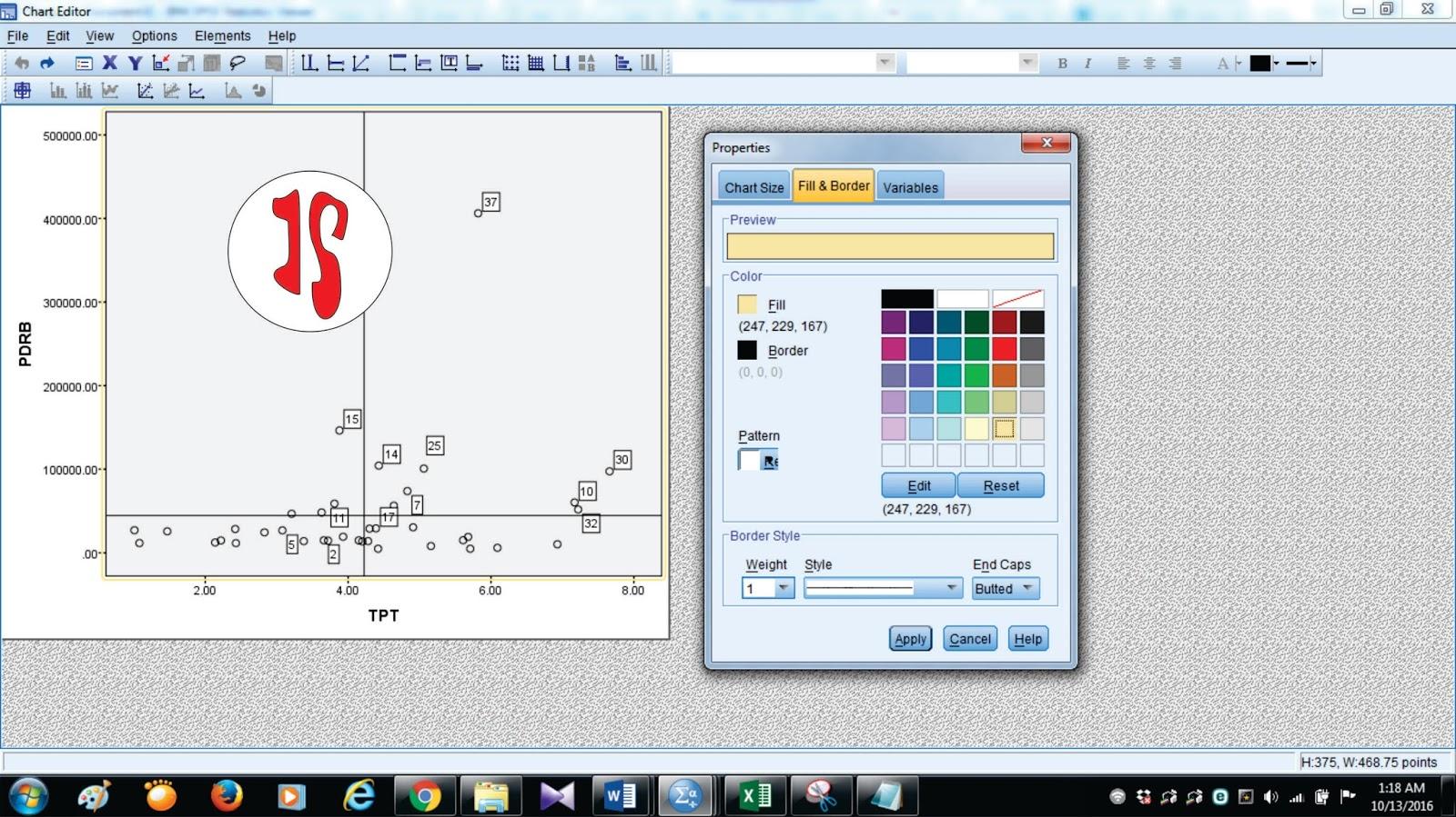 Iimportance performance analysis dengan spss jendela statistika biar lebih sedikit imutdifikasi gambar dengan memberi warna untuk masing masing titik dan background gambar dengan mengklik menu edit lalu pilih ccuart Choice Image