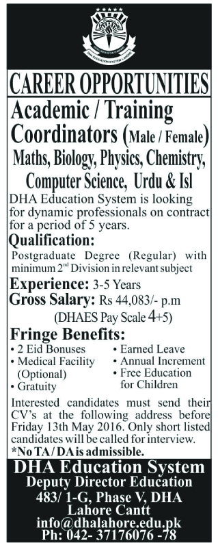 Career opportunity of Teaching Faculty at DHA Education System