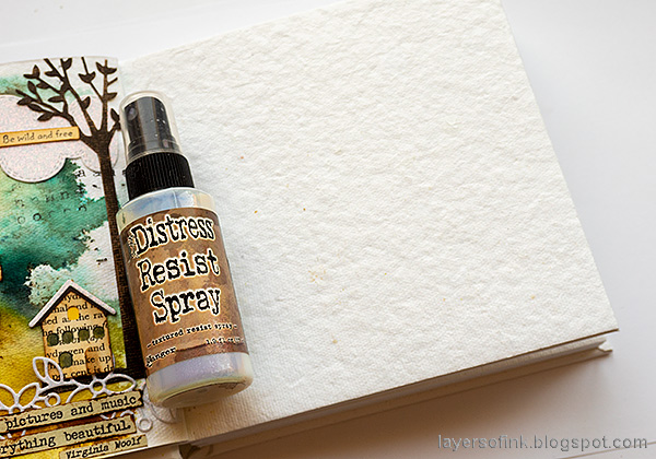Layers of ink - Sing Art Journal Page by Anna-Karin Evaldsson. Distress Resist Spray.
