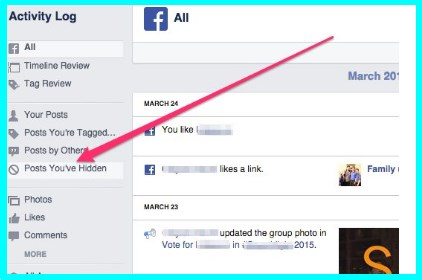 how to unhide a post on facebook app
