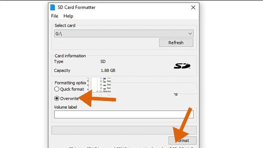 اصلاح بطاقة الذاكرة التالفة