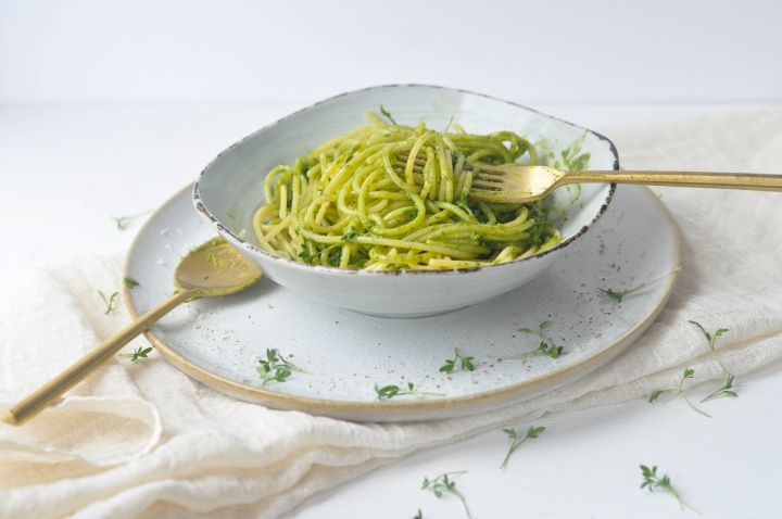 gluten free Watercress-Pistachio-Pesto, ready to eat in 5 minutes and oh-so good!