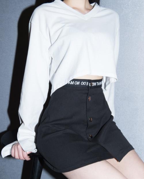Lettering-Detailed Waist Snap-Front Skirt