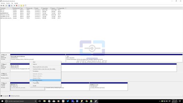Eliminando particiones con el Administrador de discos de Windows 10